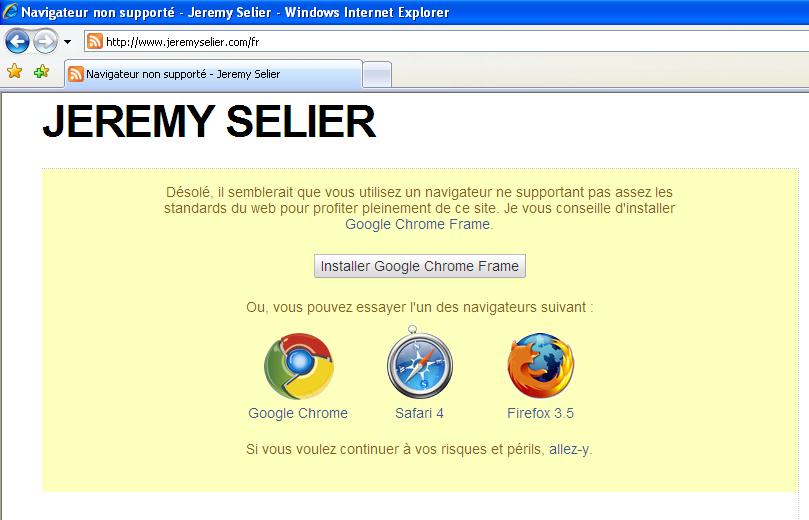 Page indiquant que le navigateur n'est pas supporté par le site